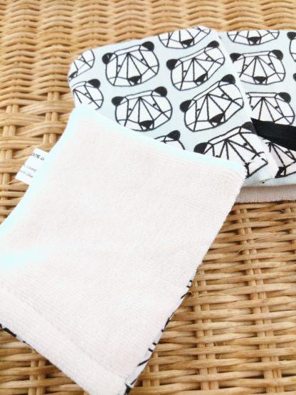 Mini gant panda origami détail velours de coton biologique