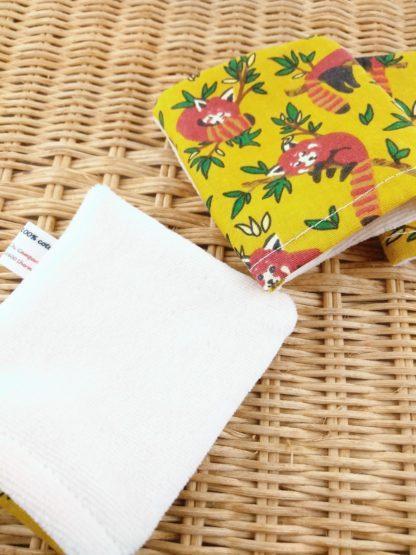 Mini gant panda roux détail velours de coton biologique