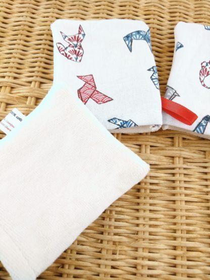 Mini gant origami détail velours de coton biologique