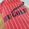 sac à cadeau rouge a rayures blanches avec prénom personnalisé
