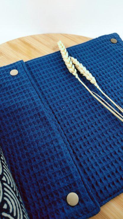 Essuie-tout lavable 100% coton Seigaiha vagues côté éponge