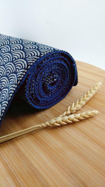 Essuie-tout lavable 100% coton Seigaiha vagues détail