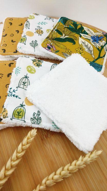 Lingettes thème jaune velours de coton