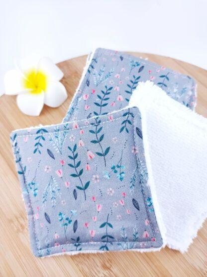 Lingettes lavables petites fleurs détail