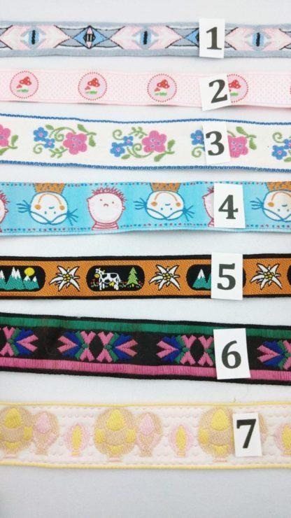 Rubans pour chaussons souples bébé personnalisables numérotés de 1 à 7